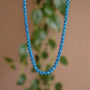 Colar curto corrente esmaltada azul