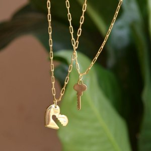 Kit colar duplo cadeado coração e chave ouro semijoia
