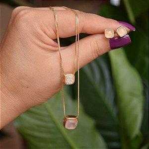 Colar duplo e brinco quadrado pedra natural quartzo rosa ouro semijoia