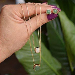 Colar duplo e brinco quadrado pedra natural quartzo verde ouro semijoia
