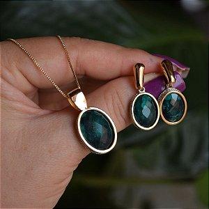 Colar e brinco oval pedra natural esmeralda ouro semijoia