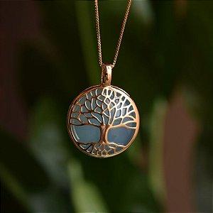 Colar árvore da vida g pedra natural ágata azul céu ouro semijoia