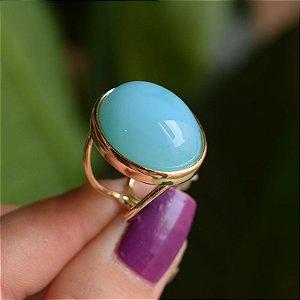 Anel ajustável oval pedra natural ágata azul céu ouro semijoia