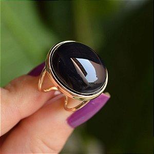 Anel ajustável oval pedra natural ágata preta ouro semijoia