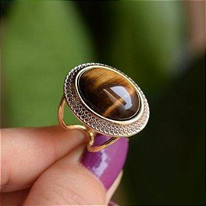 Anel ajustável oval pedra natural olho de tigre ouro semijoia