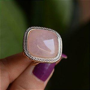 Anel ajustável quadrado pedra natural quartzo rosa ouro semijoia