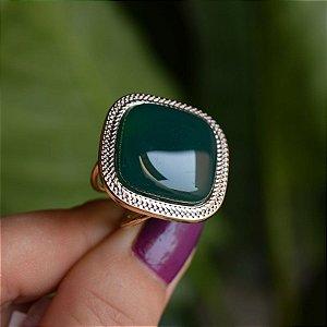 Anel ajustável quadrado pedra natural ágata verde ouro semijoia