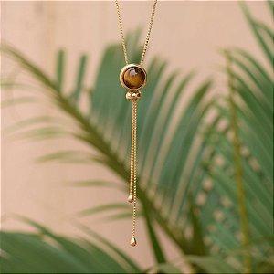 Colar gravatinha pedra natural olho de tigre ouro semijoia
