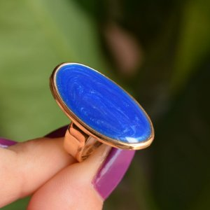 Anel ajustável Lázara Design azul jeans dourado