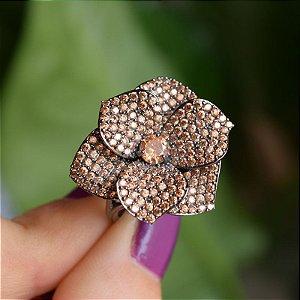 Anel flor zircônia topázio ródio negro semijoia