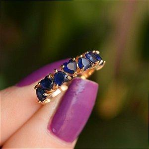 Anel meia aliança zircônia coração azul marinho ouro semijoia