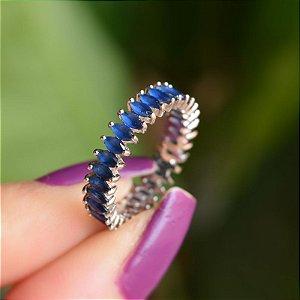 Anel aliança zircônia navete azul ródio semijoia