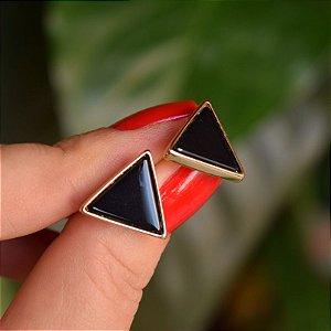 Brinco triângulo invertido pedra natural ágata preta ouro semijoia