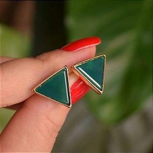 Brinco triângulo invertido pedra natural ágata verde ouro semijoia