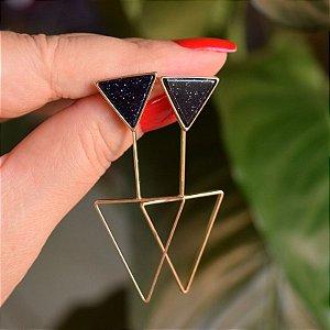 Brinco 2 em 1 triângulo invertido pedra natural estrela ouro semijoia