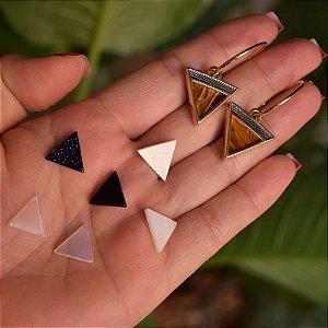 Brinco argola 4 pedras naturais ouro semijoia