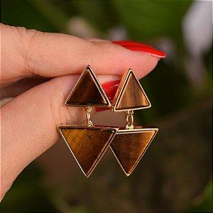 Brinco triângulos pedra natural olho de tigre ouro semijoia