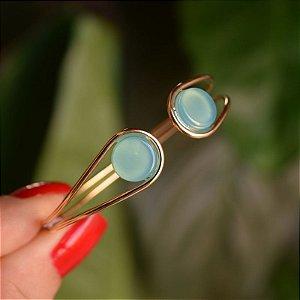 Bracelete ajustável pedra natural ágata azul céu ouro semijoia