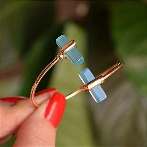 Bracelete ajustável geométrico pedra natural ágata azul céu ouro semijoia