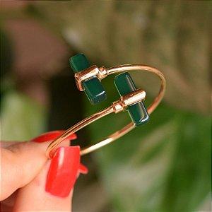 Bracelete ajustável geométrico pedra natural ágata verde ouro semijoia
