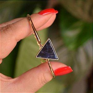 Bracelete geométrico pedra natural sodalita ouro semijoia