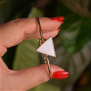 Bracelete geométrico pedra natural madrepérola ouro semijoia
