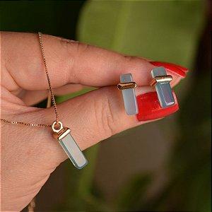 Colar e brinco geométrico pedra natural ágata azul céu ouro semijoia