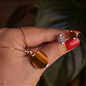 Colar e brinco redondo pedra natural olho de tigre ouro semijoia