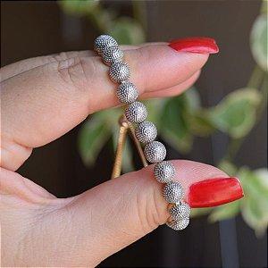 Pulseira gravata metal texturizado ródio e ouro semijoia 19A11052