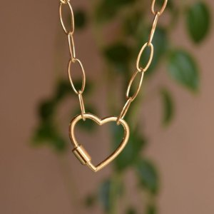 Colar corrente elos fecho coração ouro semijoia