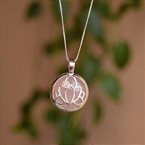 Colar flor de lotus pedra natural quartzo rosa prata 925