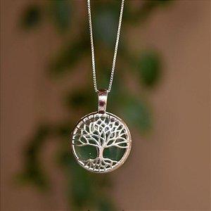 Colar árvore da vida pedra natural ágata verde prata 925