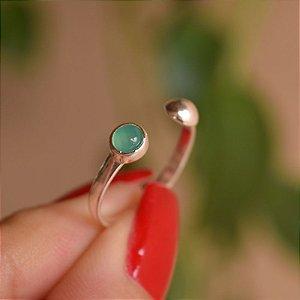 Anel ajustável pedra natural ágata verde prata 925