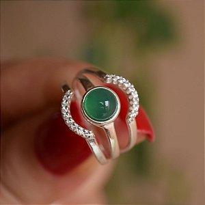 Anel triplo pedra natural ágata verde e zircônia prata 925
