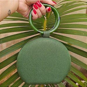 Clutch redonda tecido verde