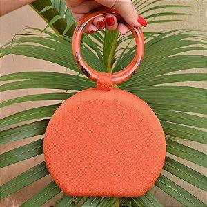 Clutch redonda tecido laranja