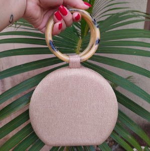 Clutch redonda tecido nude damasco