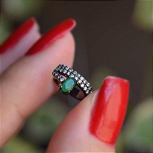 Piercing de encaixe zircônia esmeralda ródio negro semijoia