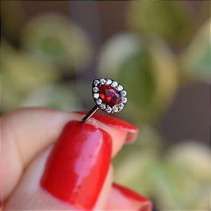 Piercing de encaixe cristal gota vermelho ródio negro semijoia