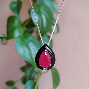 Colar gota cristal fusion gota rosa esmaltada rodio semijoia