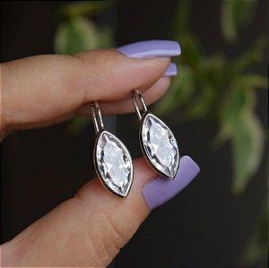 Brinco gancho zircônia cristal navete ródio semijoia 511006862