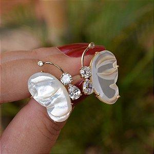 Brinco borboleta madrepérola zircônia ouro semijoia