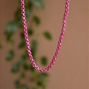 Colar curto corrente esmaltada rosa pink