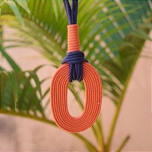 Colar longo Design Natural fios de algodão laranja e azul marinho CO 1468