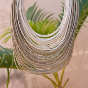 Colar Design Natural fios de algodão bicolor bege CO 1314N