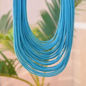 Colar Design Natural fios de algodão azul CO 1341