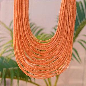 Colar Design Natural fios de algodão laranja CO 1341