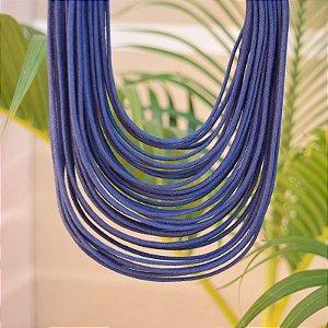 Colar Design Natural fios de algodão azul marinho CO 1341