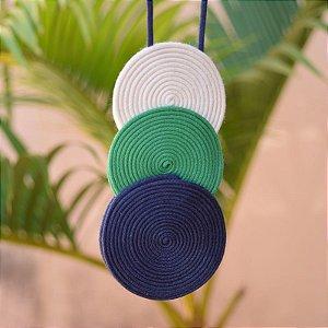 Colar longo Design Natural fios de algodão tricolor CO 1434