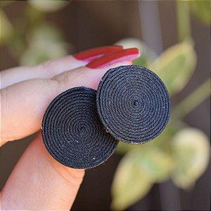 Brinco redondo Design Natural fios de algodão preto BR 2046